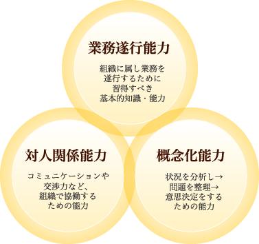 テクニカルスキル(業務知識、業務遂行能力):技術者として修得すべきスキルの総称、ヒューマンスキル(対人関係能力):コミュニケーション力や交渉力など、組織で恊働する上で重要なスキルの総称、コンセプチュアルスキル(概念化能力):状況分析能力や意思決定能力、企画・想像力など問題を整理・判断する能力の総称