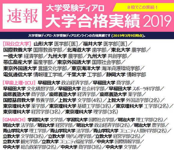 速報大学受験実績2019
