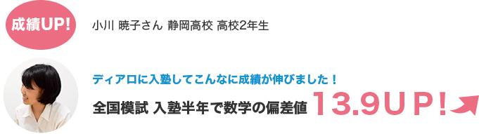 成績UP!小川 暁子さん 静岡高校 高校2年生 ディアロに入塾してこんなに成績が伸びました!全国模試 入塾半年で数学の偏差値13.9UP!